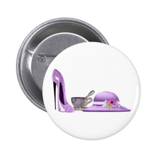 Lilac Stiletto Shoe, Hat and Teacup Art 6 Cm Round Badge