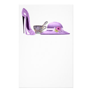 Lilac Stiletto Shoe, Hat and Teacup Art Stationery Paper