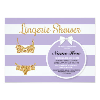 Lilac Stripe & Gold Lingerie Shower Bridal Invite