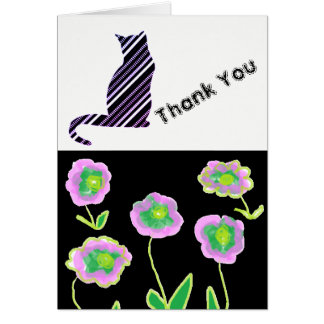 Lilac Summer Flower And Cat Thank You Card