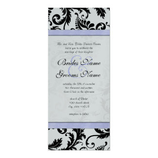 Lilac Trim Black Damask Swirls Wedding Invitation
