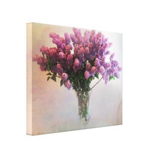 Lilac Vase On Table Canvas Print