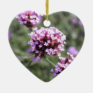 Lilac Verbena Flower Sprig Ceramic Heart Decoration