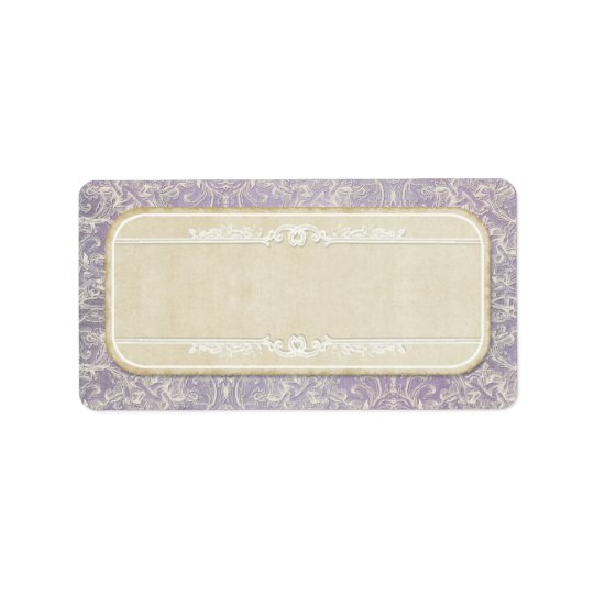 Lilac Vintage French Regency Lace Etched Wedding Address Label