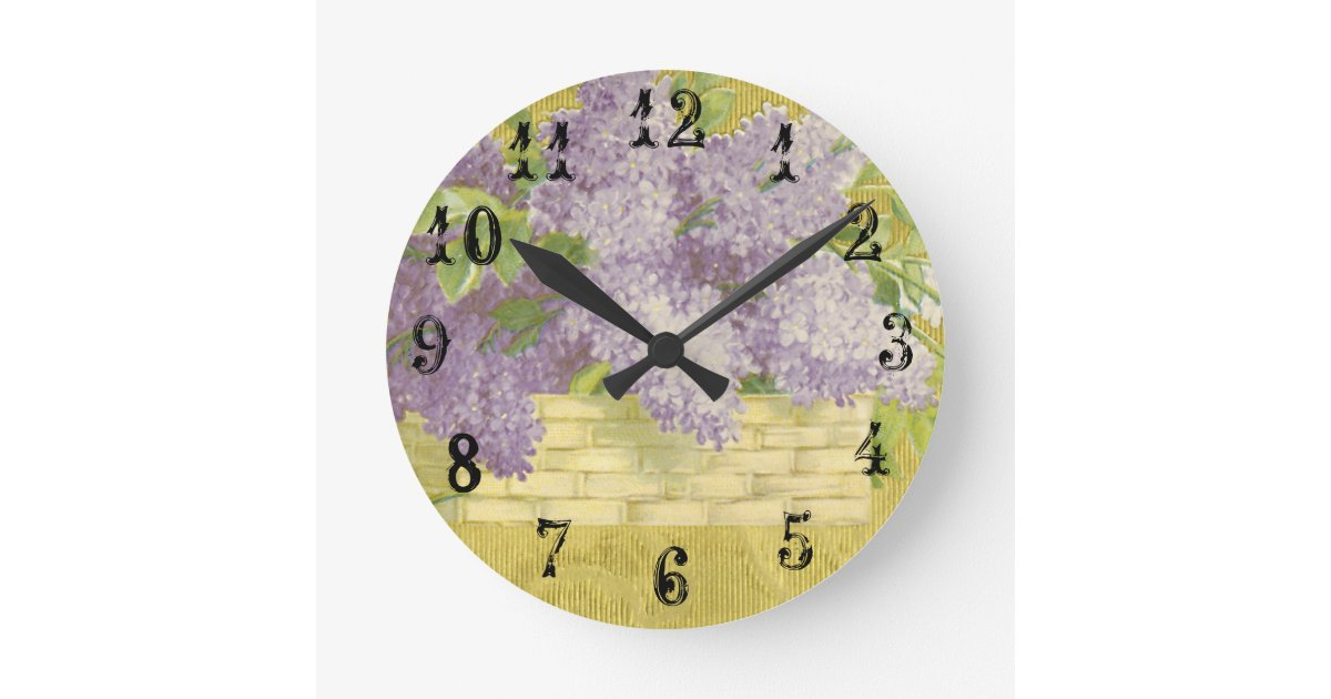 lilac wall clock french country decor shabby chic zazzle