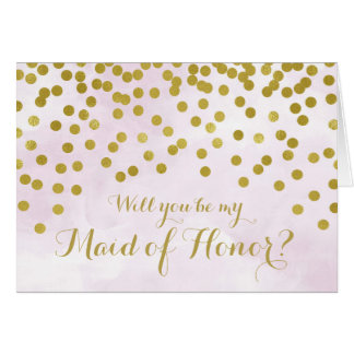 Lilac Watercolor Gold Dots Maid of Honour Invite Card