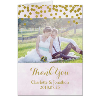 Lilac Watercolor Gold Dots Wedding Thank You Photo Card