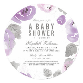 Lilac Watercolor Roses Baby Shower Round Invite