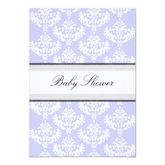 Lilac & White Damask It's a Girl Baby Shower 13 Cm X 18 Cm Invitation Card