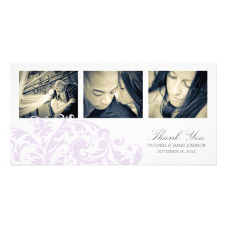 LILAC & WHITE FLOURISH   WEDDING THANK YOU CARD PHOTO CARDS