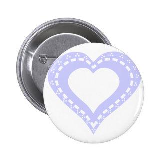 Lilac & White Heart Design 6 Cm Round Badge