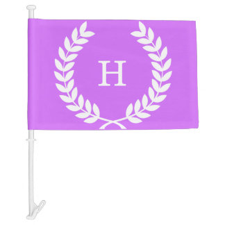 Lilac White Wheat Laurel Wreath Initial Monogram Car Flag
