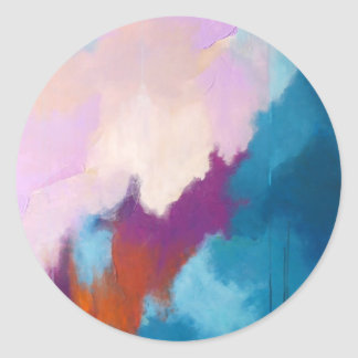 Lilac with Aqua Modern Abstract Painting - KT 2013 Round Sticker