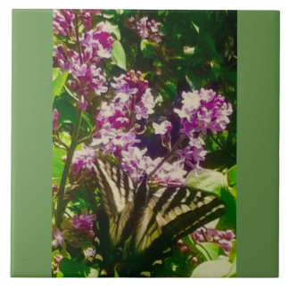 Lilac Yellow Butterfly Tile