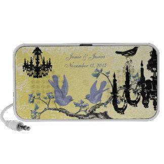 Lilac & Yellow Vintage Love Birds Black Chandelier iPhone Speaker