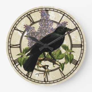 Lilacs And Crow Large Clock