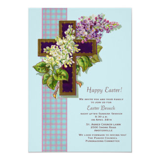 Lilacs and Crucifix Easter Invitation