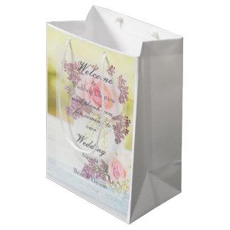 Lilacs and Roses Vintage Wedding Medium Gift Bag