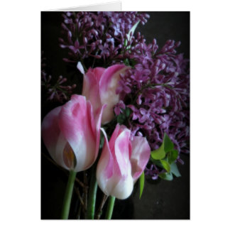 Lilacs And Tulips Card