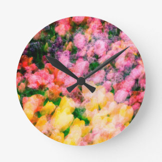 Lilacs and Tulips Round Clock
