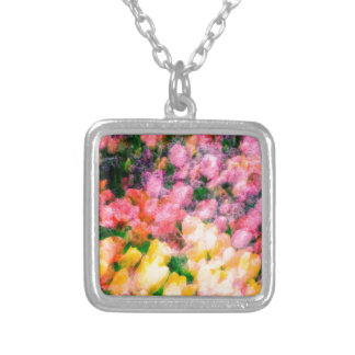 Lilacs and Tulips Silver Plated Necklace