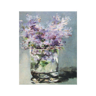 Lilacs in a Glass  by Edouard Manet Stretched Canvas Print