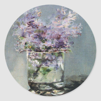 Lilacs in a Glass by Edouard Manet Round Stickers