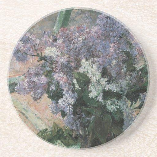 Lilacs in a Window, Cassatt, Vintage Impressionism Beverage Coaster