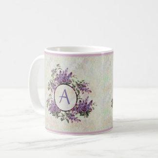 Lilacs Monogram Pastel Marble  Ceramic Mug