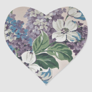 Lilacs on Vintage Wallpaper Heart Sticker