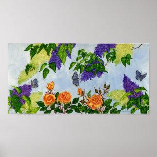 Lilacs, Roses & Butterflies Poster
