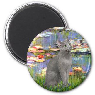 Lilies 2 - Russian Blue cat 6 Cm Round Magnet