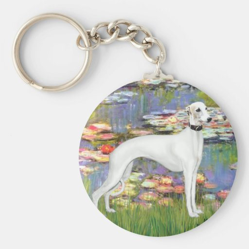 Lilies 2 - White Whippet (11b) Keychains