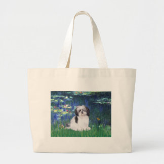 Lilies 5 - Shih Tzu (A) Large Tote Bag
