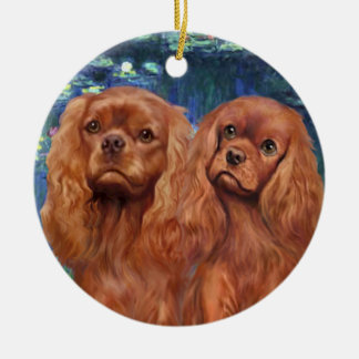 Lilies 5- Two Ruby Cavaliers Ceramic Ornament