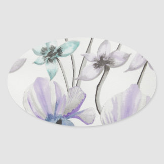 Lilies and Orchids Oval Stickers