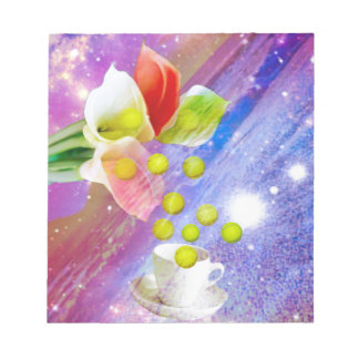 Lilies drop tennis balls to celebrate . notepad