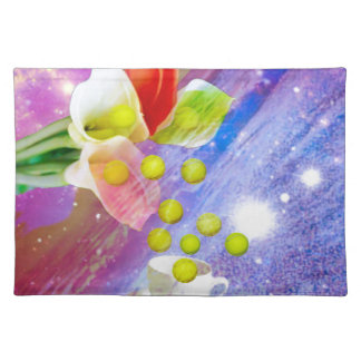 Lilies drop tennis balls to celebrate . placemat
