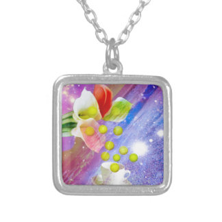 Lilies drop tennis balls to celebrate . silver plated necklace
