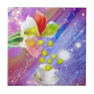 Lilies drop tennis balls to celebrate . tile