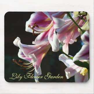 Lilies Flower Garden mousepad Pink Lily Floral