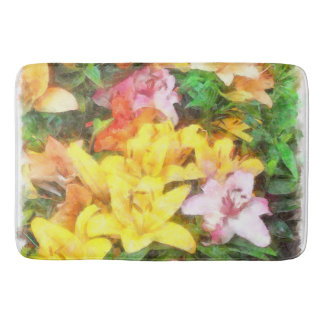 Lilies Love and Light Watercolor Bath Mat