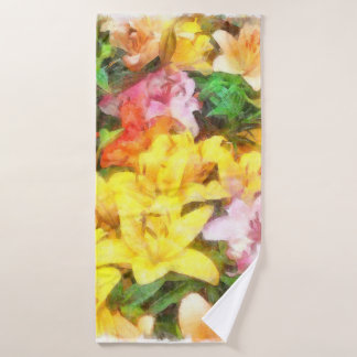 Lilies Love and Light Watercolor Bath Towel