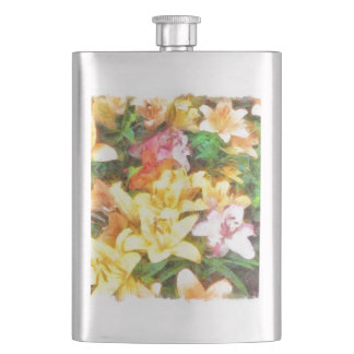 Lilies Love and Light Watercolor Hip Flask
