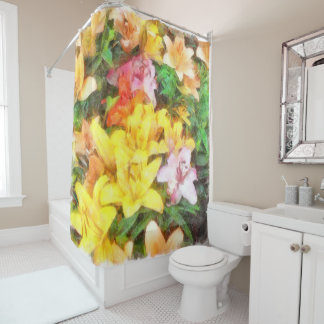 Lilies Love and Light Watercolor Shower Curtain