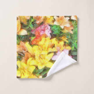 Lilies Love and Light Watercolor Wash Cloth