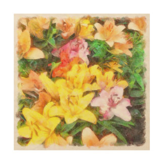 Lilies Love and Light Watercolor Wood Wall Decor