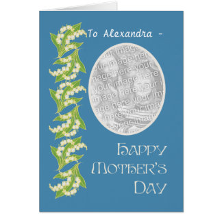Lilies Mothers Day Photo Card, Blue to Personalise Card