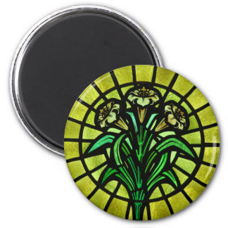Lilies on Stained Glass Magnet
