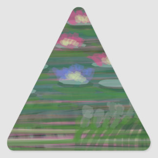 Lilies on Water Triangle Sticker